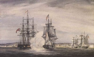 Depiction of the engagement of the Royal George and the American brig Oneida in Kingston harbour image. Click for full size.