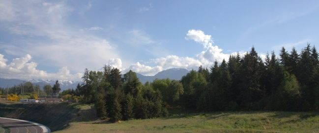 View from the Marker – Mount Olympus is Hidden by Trees image. Click for full size.