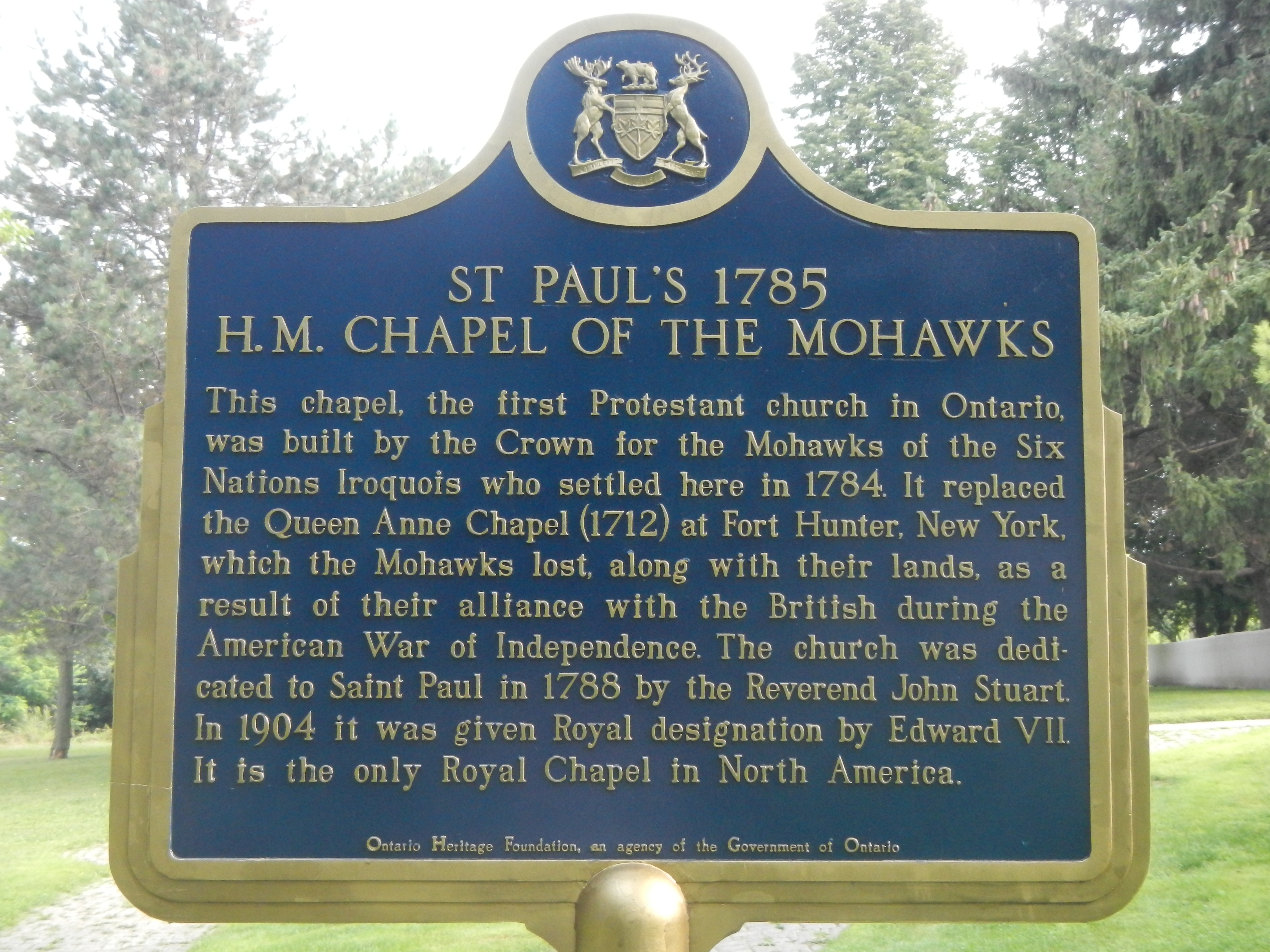 St. Paul's 1785, H.M. Chapel of the Mohawks Marker