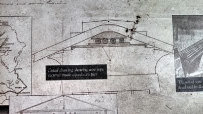 Detail drawing showing wire rope secured inside aqueduct's pier image. Click for full size.