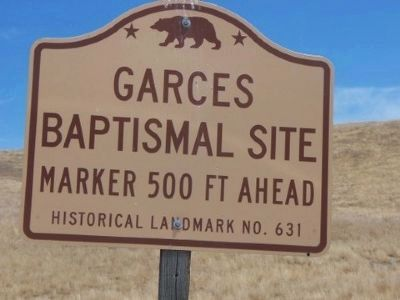 Garcés Baptismal Site Roadside Directional Sign image. Click for full size.