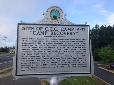 "Site of C.C.C. Camp P-71, ""Camp Recovery"" Marker image. Click for full size."
