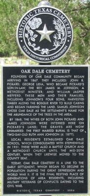 Oak Dale Cemetery Texas Historical Marker image. Click for full size.