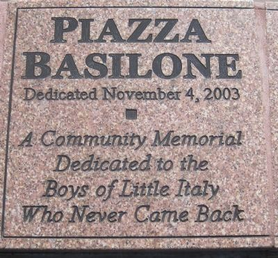 Piazza Basilone dedication marker image. Click for full size.