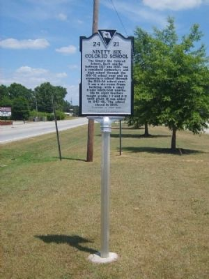 Ninety Six Colored School Marker<br>Front image. Click for full size.