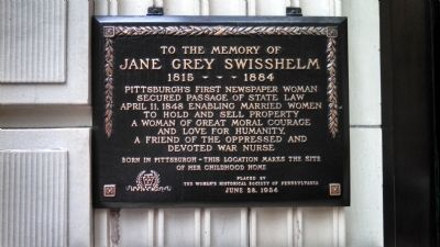 Jane Grey Swisshelm Childhood Home Marker image. Click for full size.