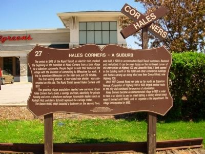 Hales Corners – A Suburb Marker image. Click for full size.