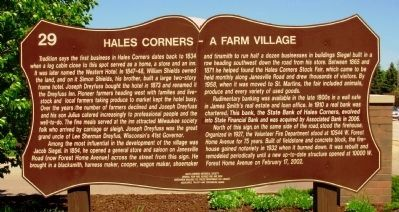Hales Corners – A Farm Village Marker image. Click for full size.