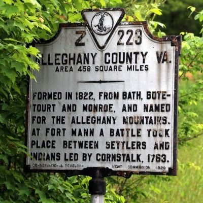 Alleghany County Va. Face of Marker image. Click for full size.
