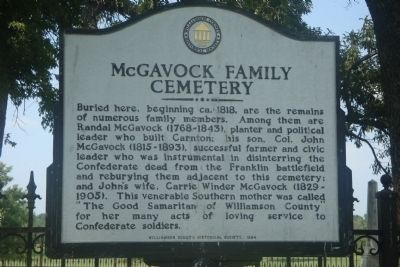 McGavock Family Cemetery Marker image. Click for full size.