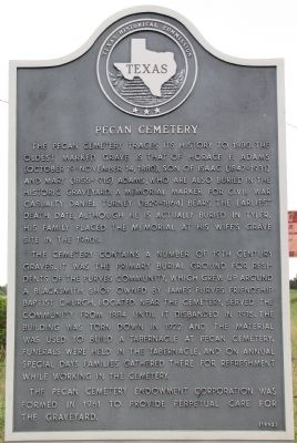 Pecan Cemetery Texas Historical Marker image. Click for full size.