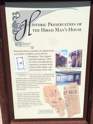Historic Preservation of the Hired Man's House Marker image. Click for full size.
