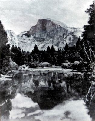 Half Dome from Sentinel Bridge postcard c. 1940 image. Click for full size.