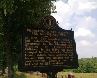 Frankfort State Hospital And School Cemetery Marker [front] image. Click for full size.