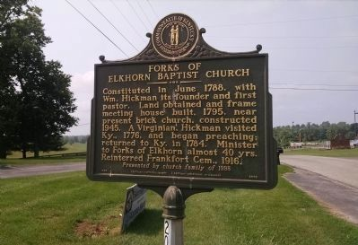 Forks of Elkhorn Baptist Church Marker image. Click for full size.