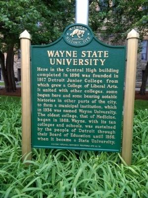 Wayne State University Marker image. Click for full size.