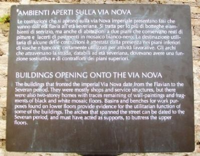 Buildings Opening Onto The Via Nova Marker image. Click for full size.