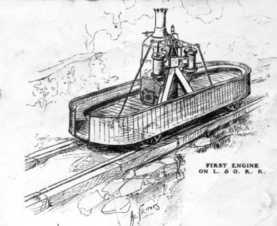 First Engine on the Lexington and Ohio Railroad image. Click for full size.