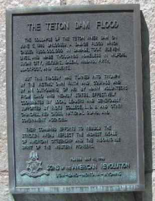 The Teton Dam Flood Marker Marker image. Click for full size.