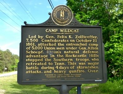 Camp Wildcat / Union Civil War Camp Marker image. Click for full size.