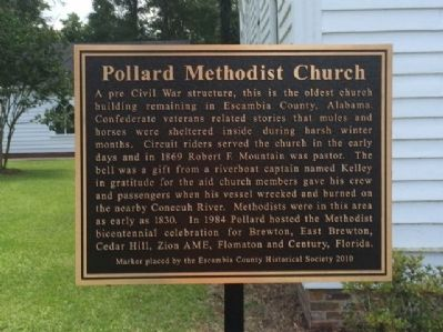 Pollard Methodist Church marker. image. Click for full size.