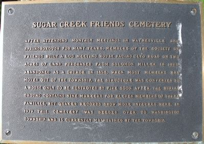 Sugar Creek Friends Cemetery Marker image. Click for full size.