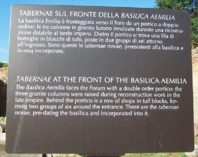 <i>Tabernae</i> at the Front of the Basilica Aemilia Marker image. Click for full size.