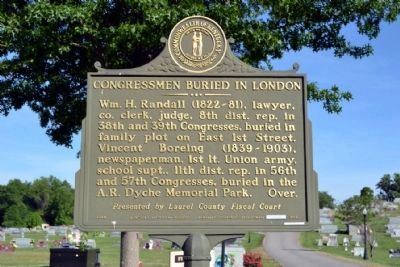 Congressmen Buried in London /<br>Congressmen Buried in A.R. Dyche Memorial Park Marker image. Click for full size.