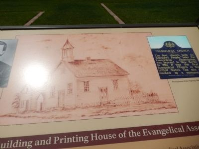 Illustration of first church and print shop image. Click for full size.