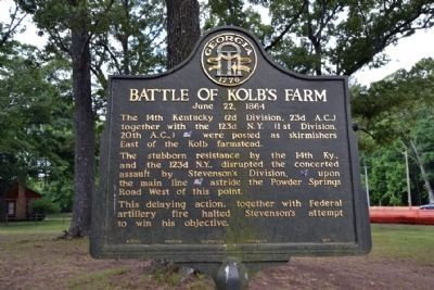 Battle of Kolb's Farm Marker in 2015 image. Click for full size.