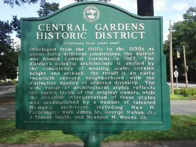 Central Garden Historic District Marker image. Click for full size.