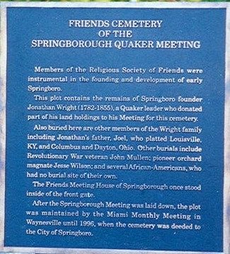 Friends Cemetery of the Springborough Quaker Meeting Marker image. Click for full size.