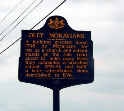 Oley Moravians Marker image. Click for full size.
