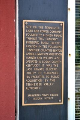 Tennessee Light and Power Company Marker image. Click for full size.