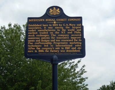 Boyertown Burial Casket Company Marker image. Click for full size.