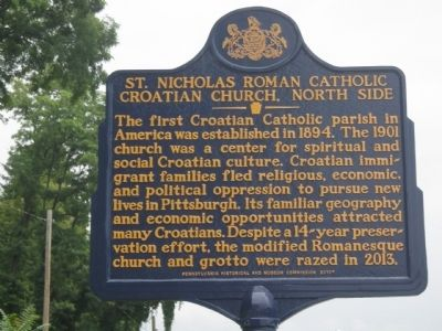 St. Nicholas Roman Catholic Croatian Church, North Side Marker image. Click for full size.