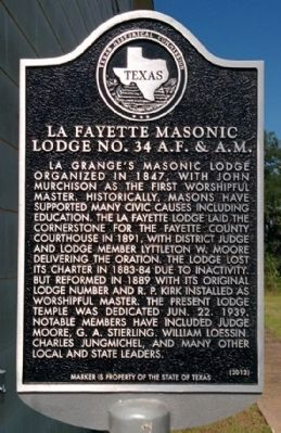 La Fayette Masonic Lodge Marker image. Click for full size.