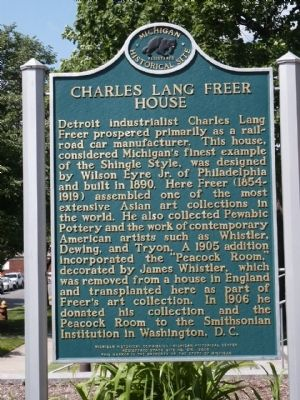 Charles Lang Freer House Marker image. Click for full size.