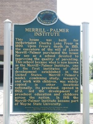 Merrill-Palmer Institute Marker image. Click for full size.
