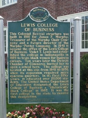 Lewis College of Business Marker image. Click for full size.