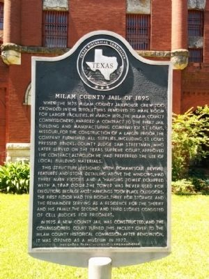 Milam County Jail of 1895 Marker image. Click for full size.