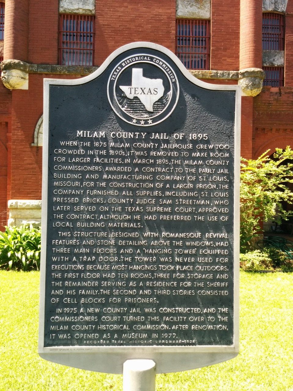 Milam County Jail of 1895 Marker