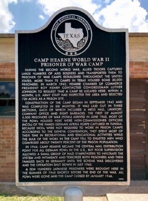 Camp Hearne, World War II POW Camp Marker image. Click for full size.