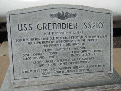 USSS Grenadier (SS210) Memorial image. Click for full size.