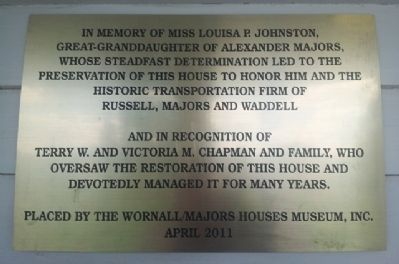 Preservation and Restoration of Alexander Majors House Marker image. Click for full size.