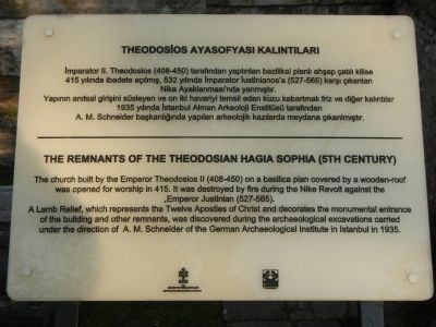 The Remnants of the Theodosian Hagia Sophia (5th Century) Marker image. Click for full size.