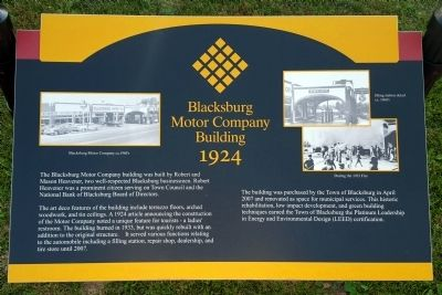 Blacksburg Motor Company Building 1924 Marker image. Click for full size.