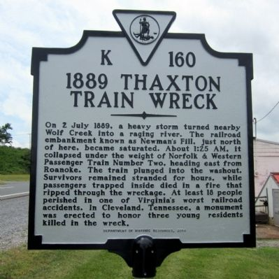 1889 Thaxton Train Wreck Marker image. Click for full size.