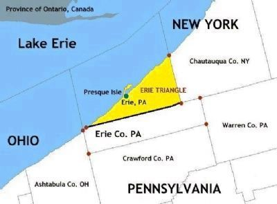 Map of Erie Triangle in Erie County, Pennsylvania and surrounding area image. Click for full size.