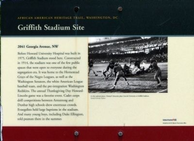 Griffith Stadium Site Marker image. Click for full size.